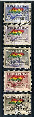1951 Bolivia part set of 5 stamps  100th National Flag Anniv Used