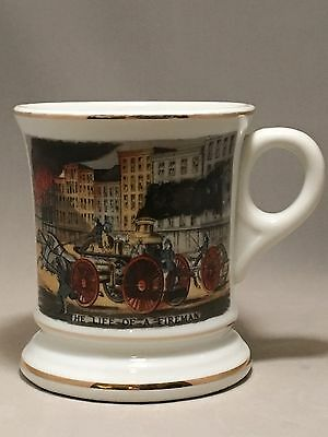 """Vintage Viking Mustache Cup """"THE LIFE OF A FIREMAN"""" w/Gold Trim EUC!"""