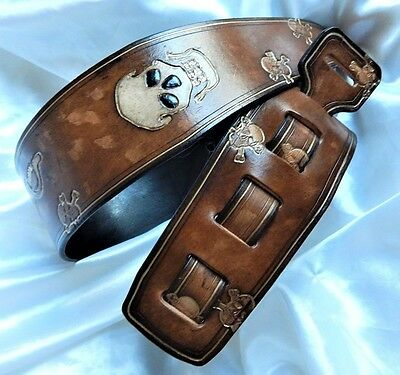 Lovely hand-made hand-carved leather guitar strap - Great price!