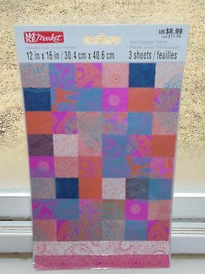 """Multi Color Paisley Pattern Decoupage Paper 3 Sheets NEW 12"""" x 16"""" Crafts"""
