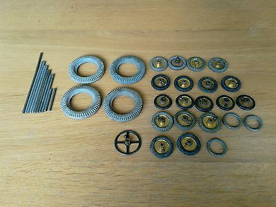 Vintage Meccano Pulleys With Tyres And Axles + Steering Wheel