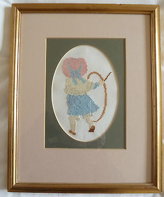 """Completed Cross Stitch Picture of Girl with Hoop - Framed.13x10"""" Pastel Colours"""