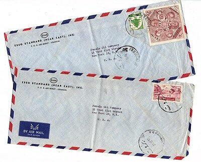 Liban - 2 Cover to USA - ESSO OIL CO. - COMMEMORATIVE STAMPS CD LOT (LEB 021)