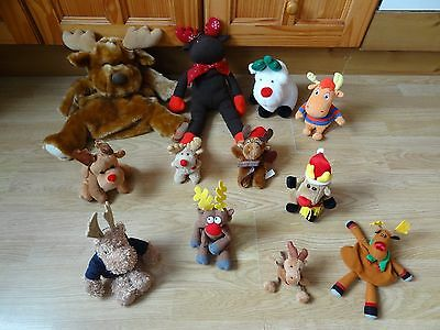 Bundle Of 12 Large & Small Plush Soft MOOSE & REINDEER 15 inches High max