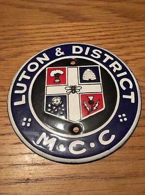 A Old Enamel Luton & District Motor Car/ Motorcycle Badge