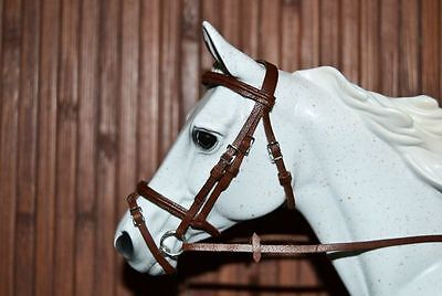LSQ Raised Snaffle Bridle, Med. Brown, Breyer Stone Model Horse, Traditional 1:9