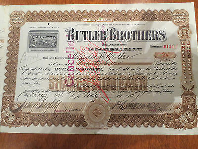 Butler Brothers Stock Certificate 1910 100 shares