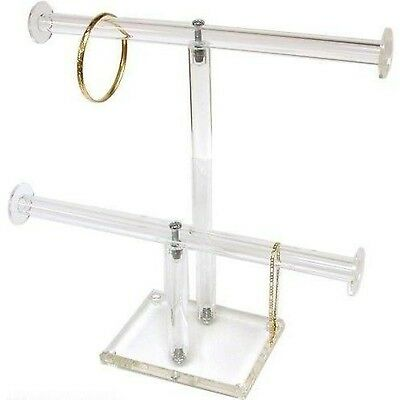 2 Tier Clear Acrylic T-Bar Bracelet Necklace Jewelry Displays Stands