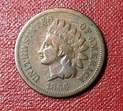 1866 Indian Head Cent,VG,Free Ship
