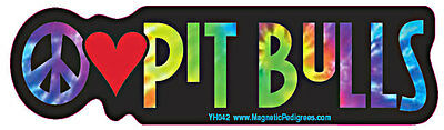 Peace Love Pit Bull Tie Dye Hippie Dog Car Decal Sticker