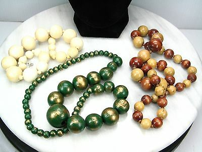 1950's Retro Style NECKLACE Large WOODEN WOOD Bead Beaded Green Natural Lot x 3