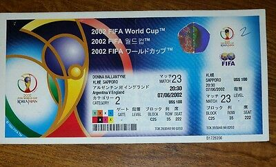 2002 England v Argentina   unused world cup ticket