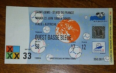 France 1998 italy v Austria world cup ticket