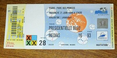 France 1998 Jamaica v argentina  unused world cup ticket
