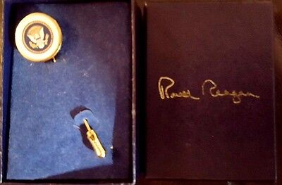 Ronald Reagan Presidential Seal Stick Pin. Inscribed signature on back IN BOX