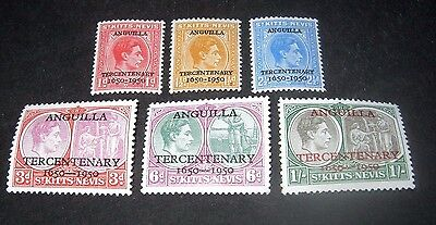 K.G.VI 1950 M/NH ST.KITTS & NEVIS ANGUILLA TERCENTENARY STAMPS sg86-91, ONLY 99p