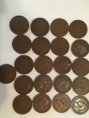 Lot Of 21 British large cents Various Dates 10s,20's, 30's