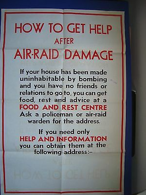 """1941, Air Raid WWII Two Colour Poster, How To Get Help.  29.75"""" x 19.75"""""""