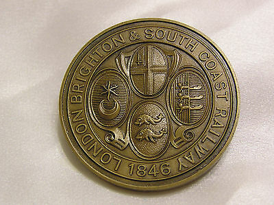 London Brighton South Coast Railway 1846 Bronze Medallion Jenny Lind Locomotive