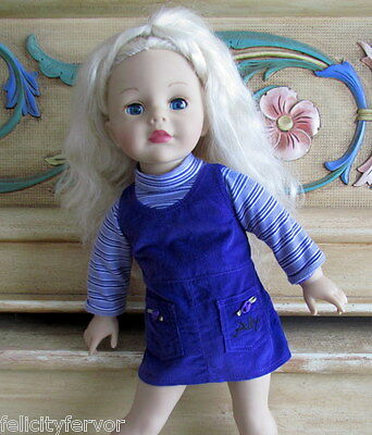 "DOLL DRESS for 18"" AMAZING ALLY, PURPLE JUMPER OUTFIT fits 18"" MADAME ALEXANDER"