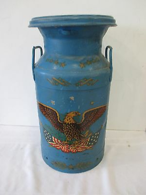 Vintage Antique Blue Painted Metal Brokhoff Milk Jug Container Can 20""