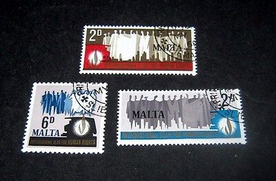 Q.E.II FINE USED SET OF 3 MALTA HUMAN RIGHTS STAMPS FROM 1968,,,,,39p START.