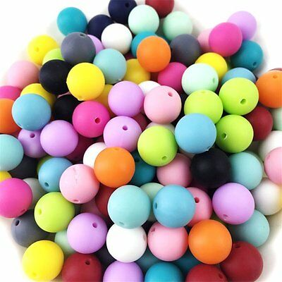500pc 12mm Silicone Beads Loose Teething Chew Jewelry Teething Necklace Teether