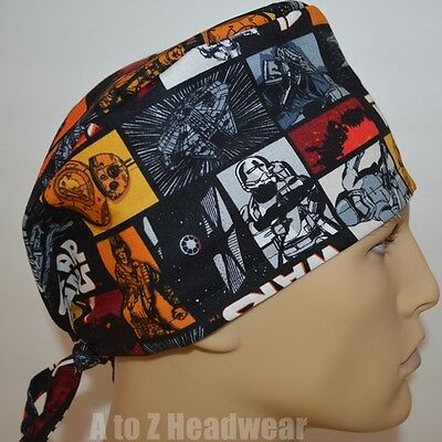 STAR WARS Heroes in Squares TRADITIONAL Tie Back Surgical Scrub Cap Hat