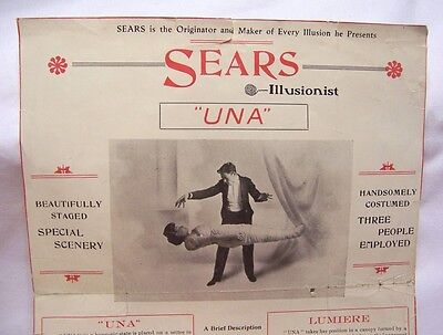 1910's Sears the Illusionist Advertising Flyer Broadside Magic Show Advertising