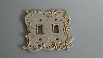 Vintage Double Switch Plate - Brass painted White