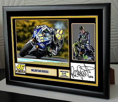 Valentino Rossi Signed Tribute Framed Great Gift