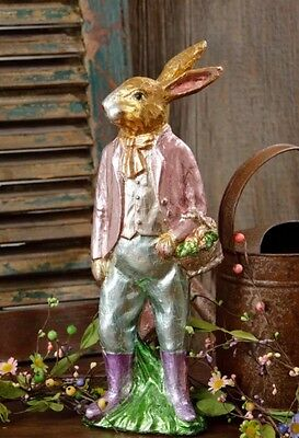"FAUX Chocolate Rabbit Foil Wrapped Bunny Carrots Easter Basket 17"" Wreath Pick"