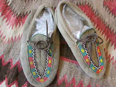 Native American Moccasins vintage beaded very thick hide 10""