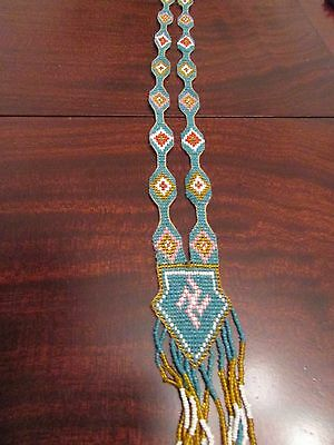 """Antique Native American Beaded """"Whiling Log"""" swastika Necklace  old collectible!"""