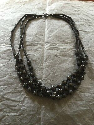 "Hematite Necklace 3 Strings 22"" - 23"""