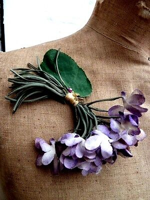 Antique French Fabric Corsage Flowers ,violets