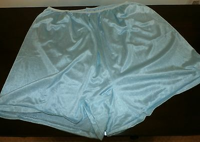 "Vintage U.s.a. Blue Double Nylon Crotch Tap Panties---Waist 32"" To 50"""