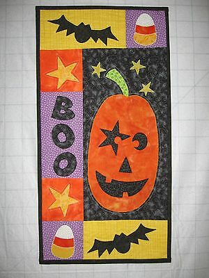 "Halloween handcrafted quilted wall hanging 15""x30"" orange, black, 100% cotton"