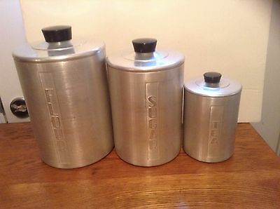 vintage aluminum kitchen canister from the 50 s