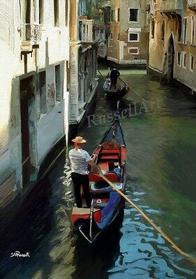 The Gondolier Limited Edition Art Print of Venice iPad Painting by Steve Russell