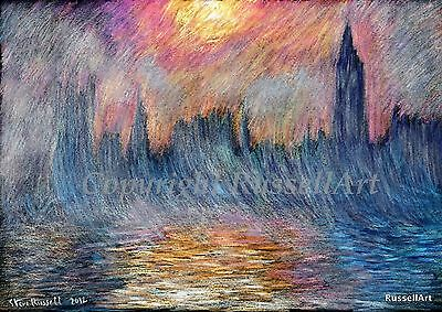 Big Ben London Monet style Signed Art Print of original drawing by Steve Russell
