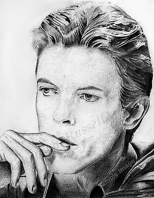 David Bowie Art Print of Original Drawing Signed by Artist Stephen Russell