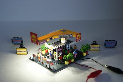 Ho Scale Slot Car Scenery / Accessory / SHELL GAS STATION,20 PEOPLE,with 4 SIGNS
