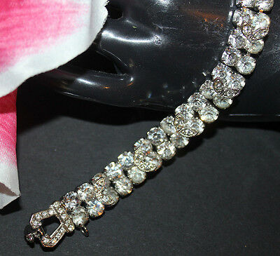 Weiss Signed Rhinestone Ice Bracelet With Stunning Detail And Safety Chain-Exc..