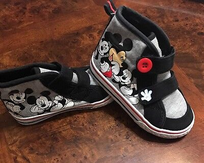 mickey mouse SHOES ,girls  TODDLER SIZE 8,COLOR gray/black/red