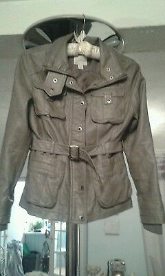 Grey leatherette faux leather girls next cost jacket age 9-10yrs.