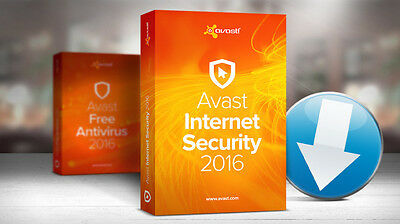 Avast! Internet Security 2016 1 year 3pc License files send by email