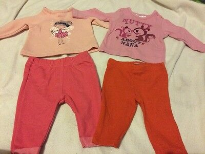 2 Baby Girls Outfits 0-3 Months