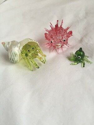 Set Of Three Glass Sea Creatures Ideal Collectors Item Fish Tank Display