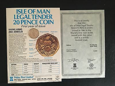 1982 Isle of Man Viking Armour Proof 20p coin